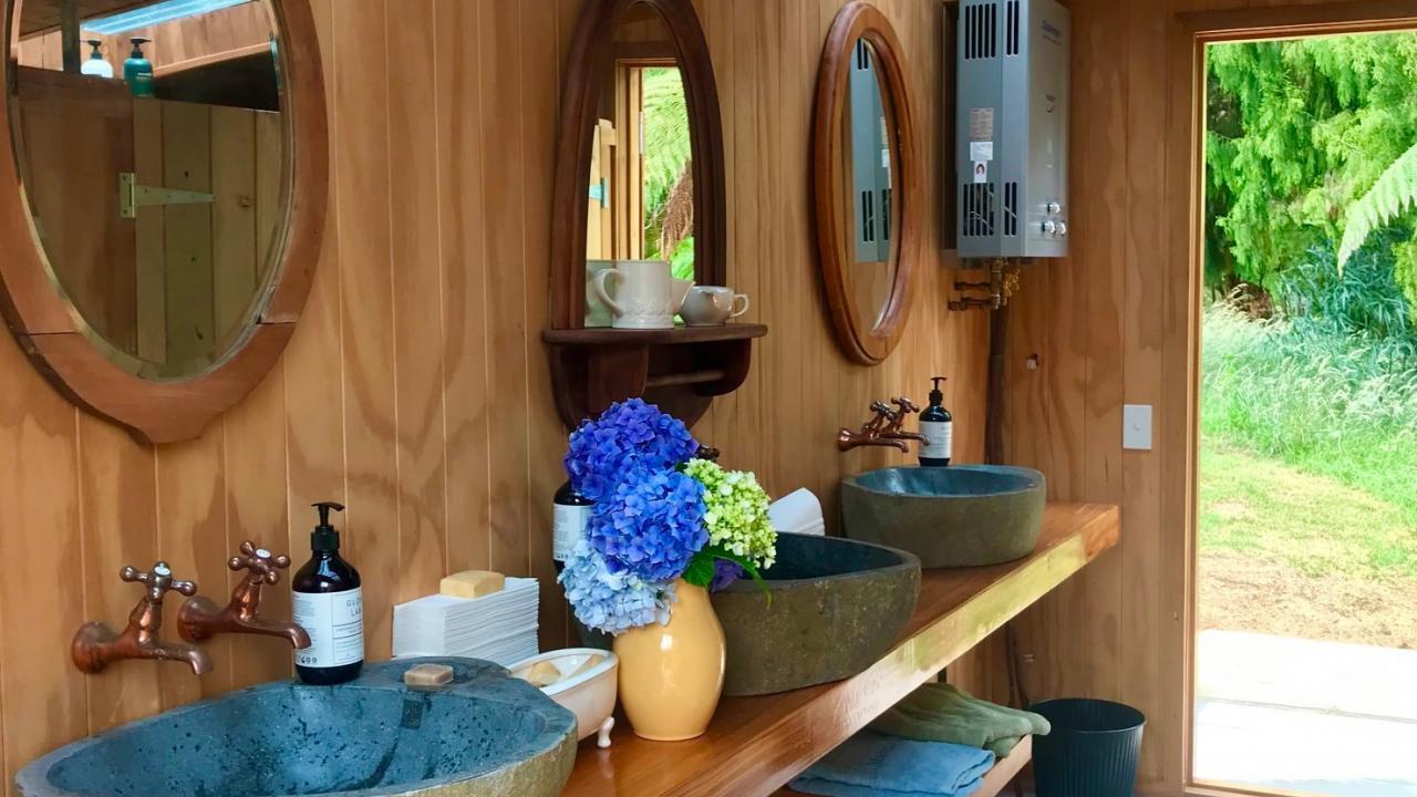 Modern bathroom facilities.