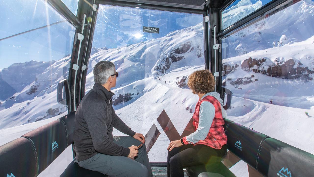 Winter sightseeing on the Sky Waka gondola.