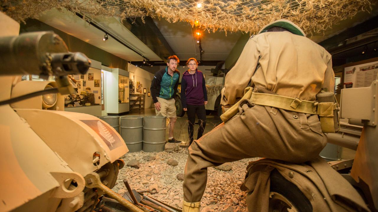 Dramatic dioramas depict various military scenes, from the heat of the battle to quiet moments in the trenches.