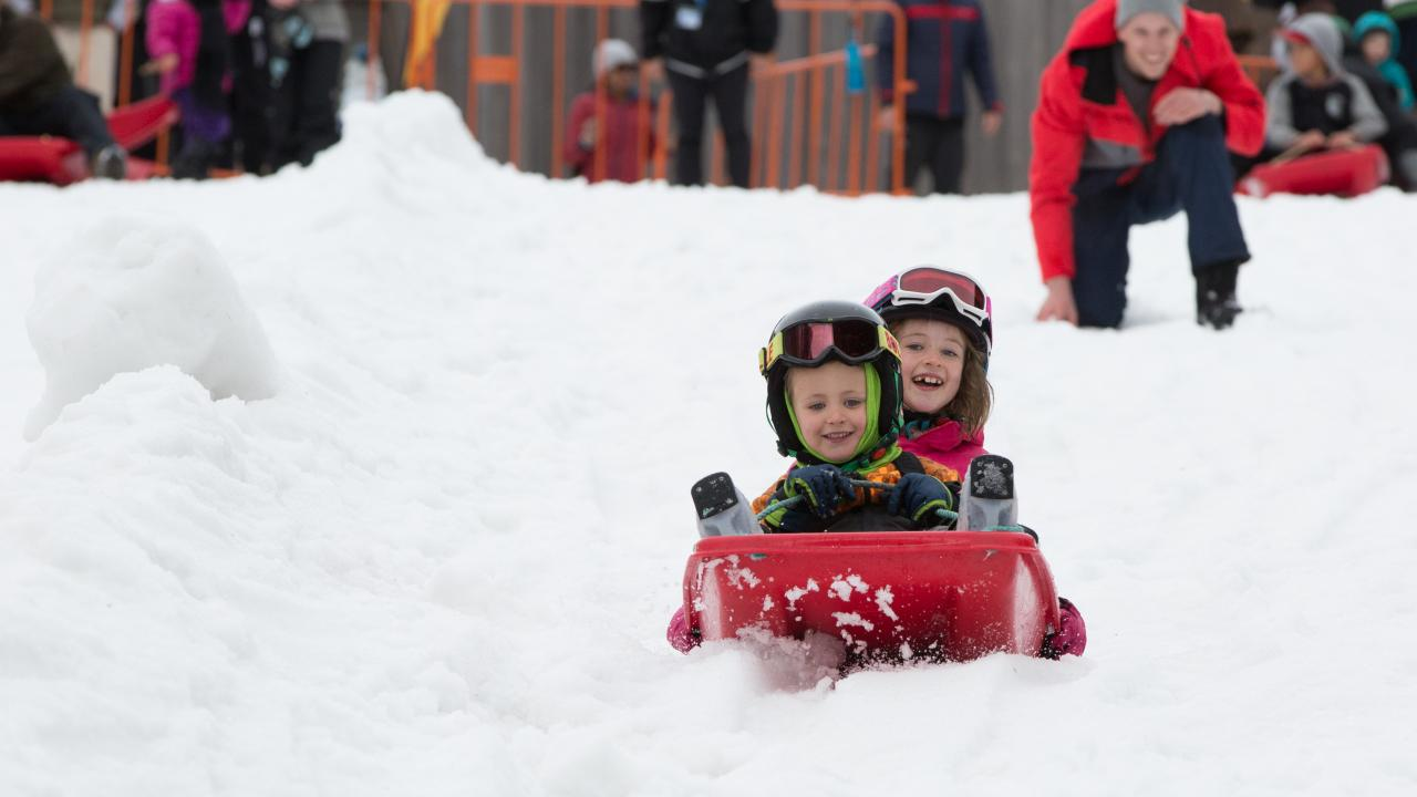 Sledding in Happy Valley - New Zealand's premier learning facility.