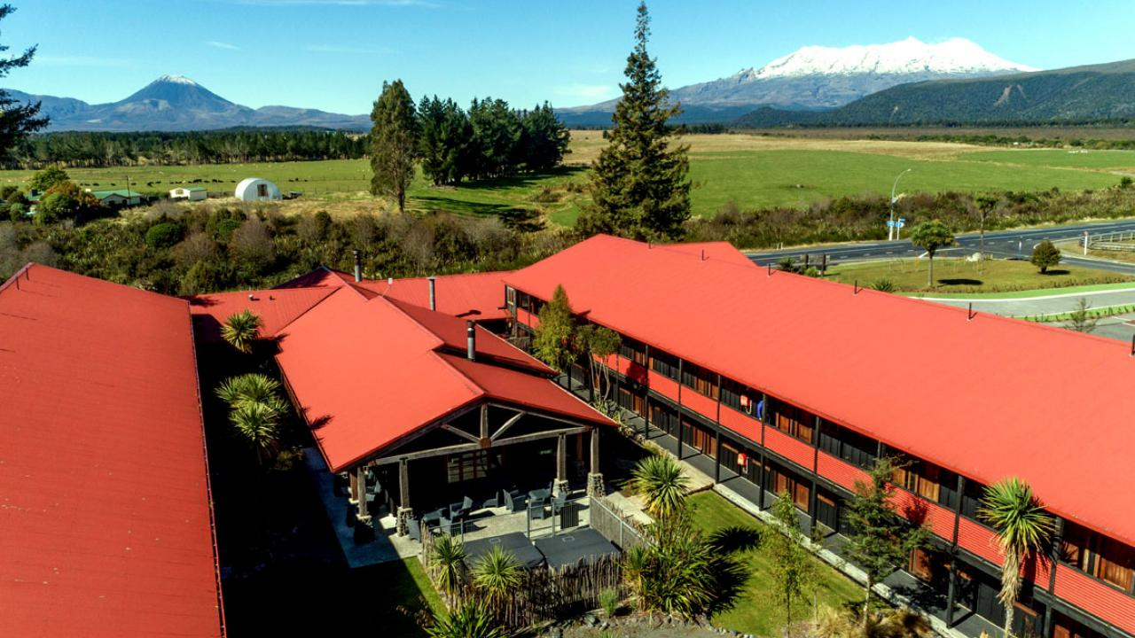 The Park Hotel looking towards Mt Ruapehu and Mt Ngaruhoe