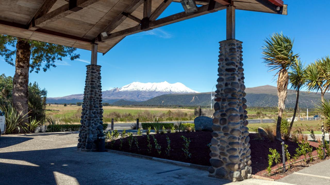 Entrance Portico looking towards Mt Ruapehu