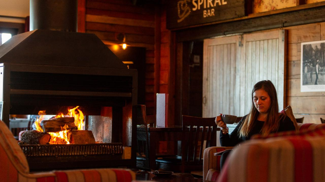 Cosy fireplace in the Spiral Restaurant