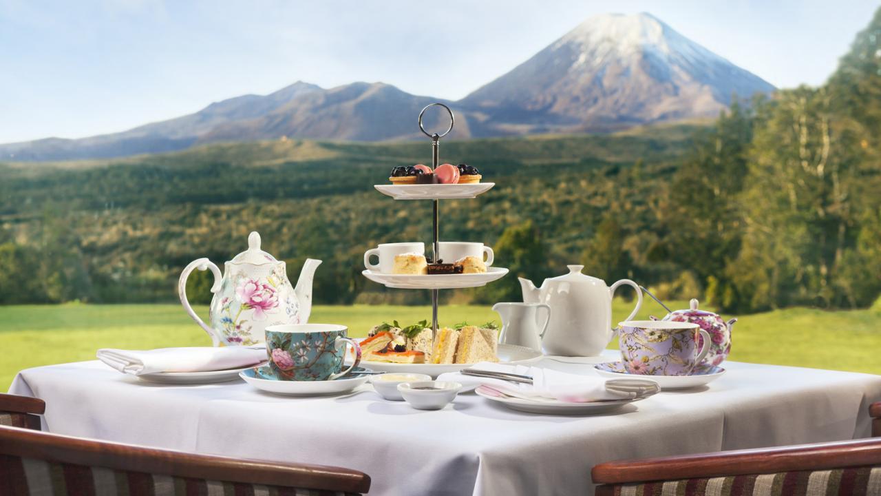 Chateau Tongariro Hotel High Tea by bay windows