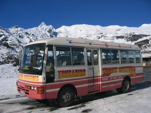 Bus in snow Whakapapa ski field